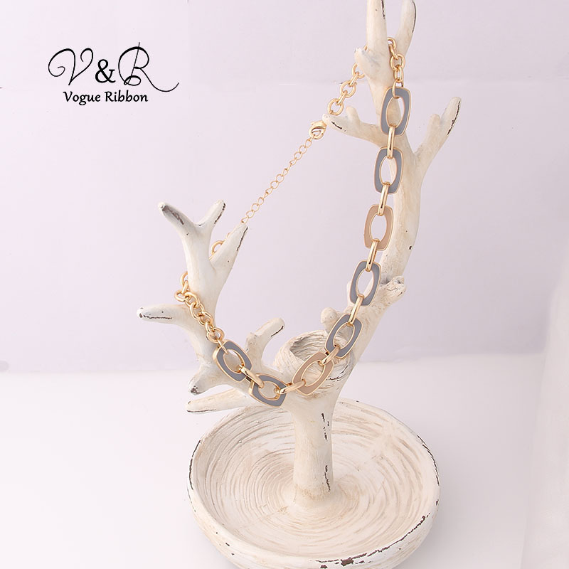 Two Tone Enamel  Penent Multiple Sized Link Chain N Necklace (2)