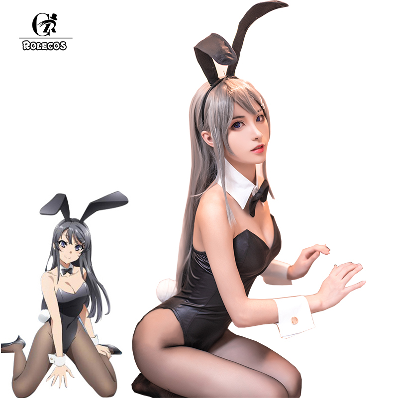 ROLECOS Anime Sakurajima Mai Cosplay Costume Halloween Women Black Sexy Jumpsuit Rascal Does Not Dream Of Bunny Girl Senpai Cos
