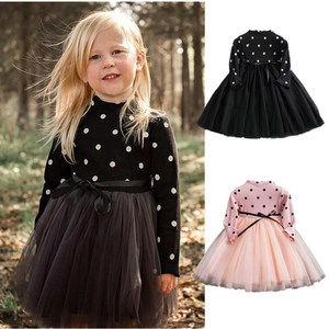 Autumn Winter Baby Girl Dress 1 Year Birthday Party Dress Knit Long Sleeve Dots Clothes Christmas Santa Claus Tutu Gown 1-5 Yrs