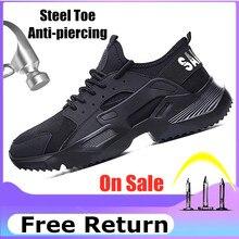Lizeruee Leggero Scarpe di Sicurezza Degli Uomini di Scarpe Puntale In Acciaio Anti Schiacciamento Lavoro Traspirante Scarpe Da Ginnastica di Usura Resistenza Zapatos de trabajo