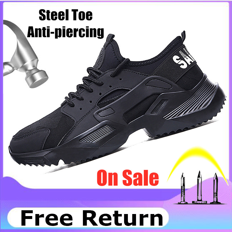 Lizeruee Lightweight Safety Shoes Men Shoes Steel Toe Anti-Crush Work Breathable Sneakers Wear-Resistance Zapatos de trabajo title=