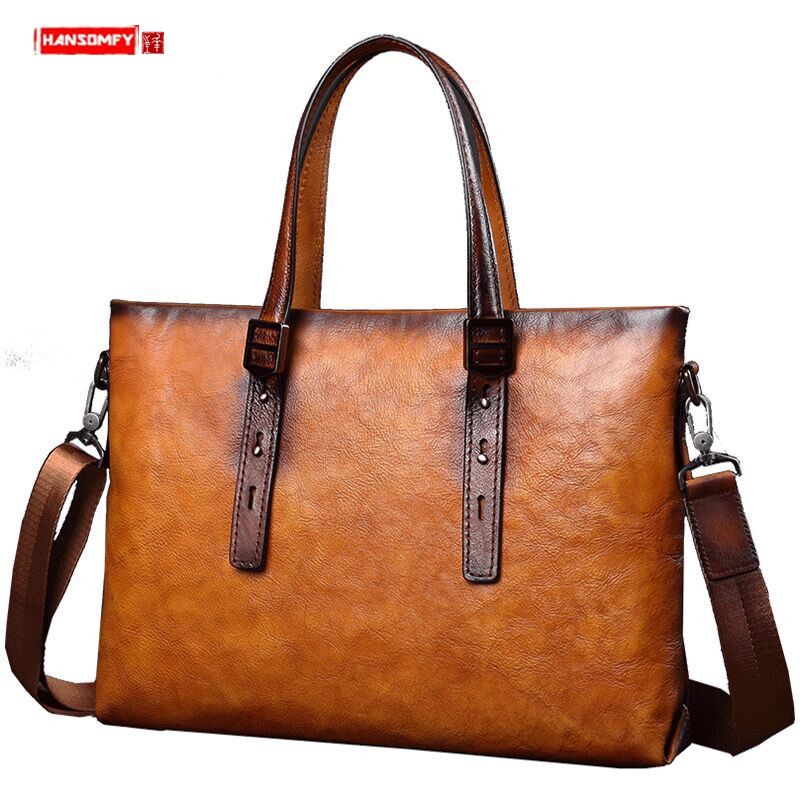 Gennuine Leather Briefcase Men's Business Handbag 14 Inch Laptop Bag Fashion Casual Men Shoulder Slung Computer Bag Tide Brand