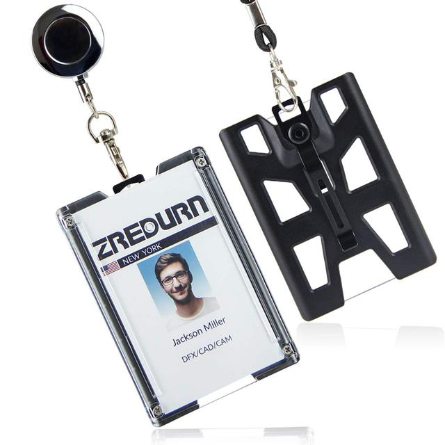 zayex 2PCS Badge Holder Vertical Top Load Four Cards Holder   Hard Plastic with Heavy Duty Lanyard and retractable key holder