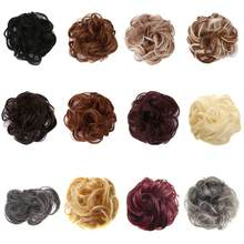 Women Girls Synthetic Hair Extension Bun Donut Updo Ponytail Holder Elastic Wave Curly Wig Decorative Hairpieces Wrap Scrunchies(China)