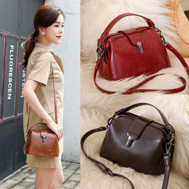 Doctoc sac femmes cuir sac à main 2019 dames petit sac fourre-tout Vintage sac à bandoulière pour filles cadenas messagers noir marron rouge - 5