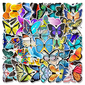 53pcs cartoon graffiti color butterfly stickers aesthetic luggage flat water cup car waterproof decorative sticker