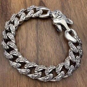Image 1 - 925 Sterling Silver Jewelry Bracelet for Women Men Vintage Width 14mm Solid Thai Silver Mantra Charms Leathe Bracelets & Bangles