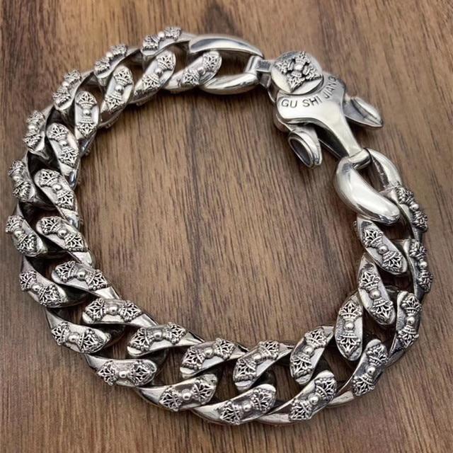 925 srebro biżuteria bransoletka dla kobiet mężczyzn Vintage szerokość 14mm stałe Thai srebrny Mantra Charms Leathe bransoletki i Bangles