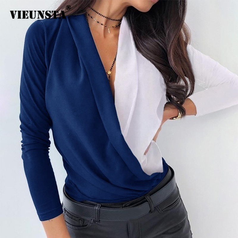 3XL Women Ruched Deep V-neck Pineapple Shirt Autumn Patchwork Long Sleeve Streetwear Blouse Sexy Slim Casual Shirts Ladies Tops