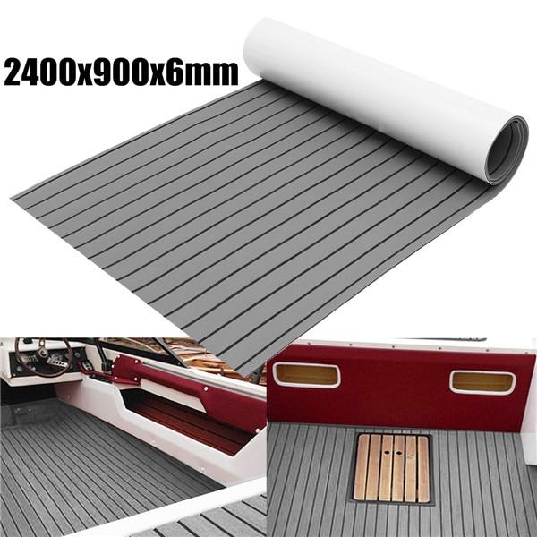 Self-Adhesive 2400x900x6mm Marine Floor Faux Teak EVA Foam Boat Decking Sheet Boat Decking Sheet Foam Flooring Mat Pad Decor