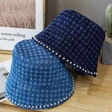 Джинсовые синие шляпы с жемчужинами для женщин от солнца рыбацкие