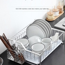 Thick 304 Stainless Steel Dish Rack Single-Layer Draining Rack Dish Rack