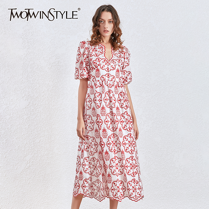 TWOTWINSTYLE Vintage Print Women's Dress Asymmetrical Collar Puff Short Sleeve High Waist Dresses Female Autumn 2020 Fashion New