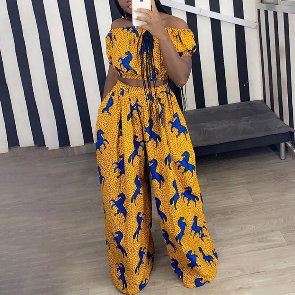Bohisen African Dresses For Women Dashiki Two Piece Suit Off Shoulder Top Wide-Leg Trousers Bazin Riche Clothes Vestidos