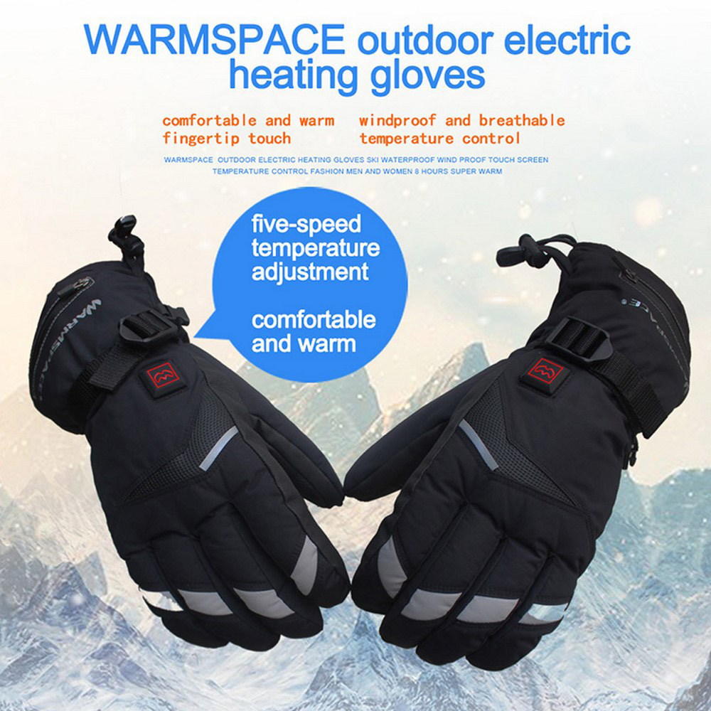 Motorcycle Cycling Electric Heating Gloves Motor Winter Hunting Warm Waterproof Intelligent Electric Heating Ski Gloves