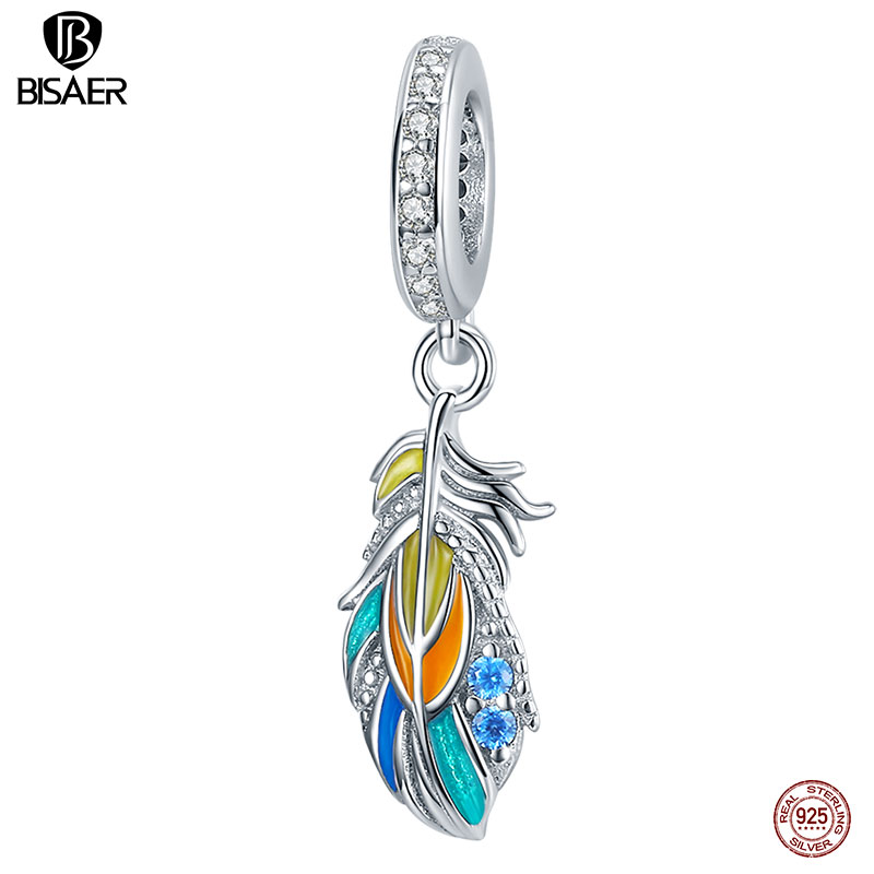 BISAER Rainbow Feather Dangle Charms 925 Sterling Silver Colorful Enamel Pendant DIY Bracelets Necklace Fashion Jewelry EFC304