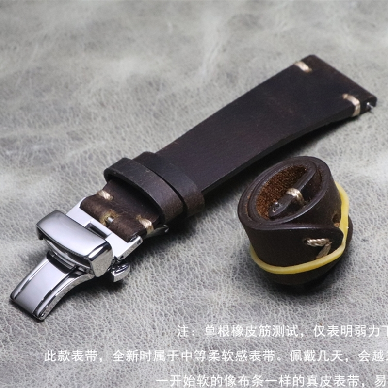 New Design Thin Cow Leather Watch Band 20mm Watch Accessories Watch Strap Retro Dark Brown Butterfly Buckle Watchband For SEIKO
