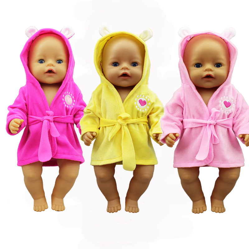 Colorful Bathrobe Suit Doll Clothes Born Babies Fit 17 Inch 43cm Doll Accessories For Baby Gift