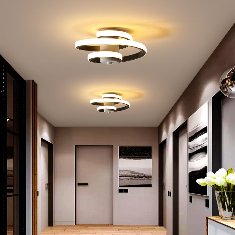 Metal Modern Ceiling Lamp For Home Led Lustre Modern Ceiling Light Led Bedroom Corridor Light Balcony Lights White&Black 18W
