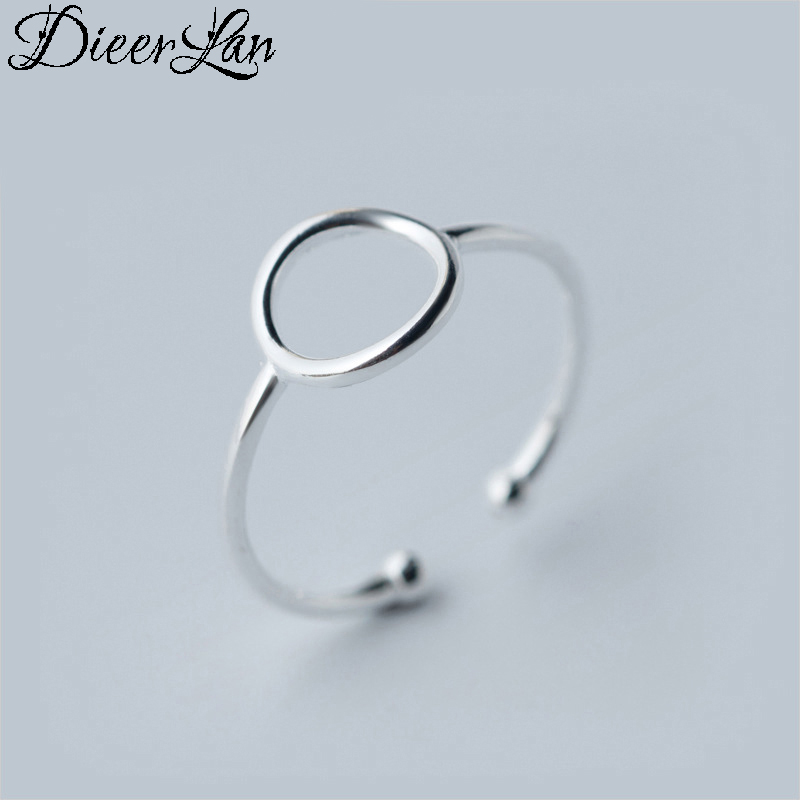 Fashion 925 Sterling Silver Circle Rings For Women Engagement Statement Finger Rings anillos mujer