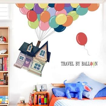 Duży kreatywny dom podróż ściana z balonami naklejki na tapeta do dziecięcego pokoju dla dzieci dziecko sypialnia naklejki ścienne Mural 2020 tanie i dobre opinie CN (pochodzenie) Naklejka ścienna samolot Do lodówki Do płytek Na ścianie Meble Naklejki Naklejki okienne Jednoczęściowy pakiet