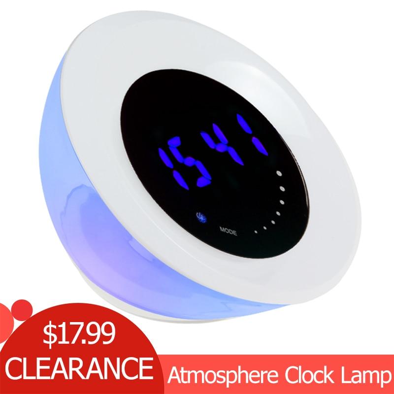 Interruptor de Toque LEVOU Luz 12 Branco + 15 LEDs RGB Cor Mudar Lâmpada Atmosfera Beleza Luz Azul Tempo de Exibição de Alarme relógio Para Casa