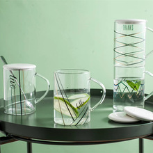 Brief Stripe Transparent Glass with Lid Heat Resistant High Borosilicate Water Glass Creative Household Milk Juice Cup for Adult