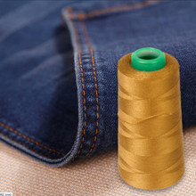 Pack of 2 Spool Polyester Jeans Sewing Thread for Sewing Machine sewing with jeans and leather 20S/2 Yellow & Navy(China)