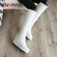 ENMAYER Winter PU Solid Down Boots Slip-On Square Toe  Height Increasing Knee High Women Shoes Flat Solid Short Plush Snow Boots цены онлайн