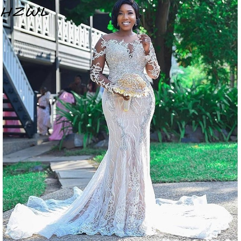 African Plus Size Wedding Dresses Sheer Neck Robe De Mariee Backless Bridal Dresses Beads Long Sleeves Lace Mermaid Wedding Gown