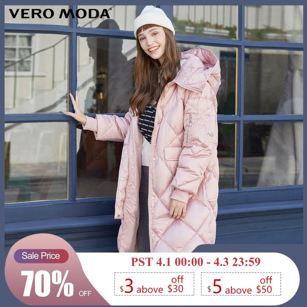 Vero Moda New Women's Long Glossy Fabric Pockets Hooded Down Jacket | 319412521