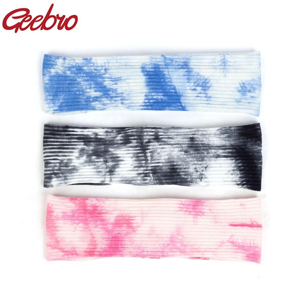 Geebro Bohemia Tie Dye Flat Stretchy Headband For Women Color Mixing Accessories Turban Wraps Female Fashion Hairband Headwear