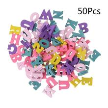 50pcs Laser Cut Wood Embellishment Wooden Letter Shape Craft Wedding Decor 72XF(China)