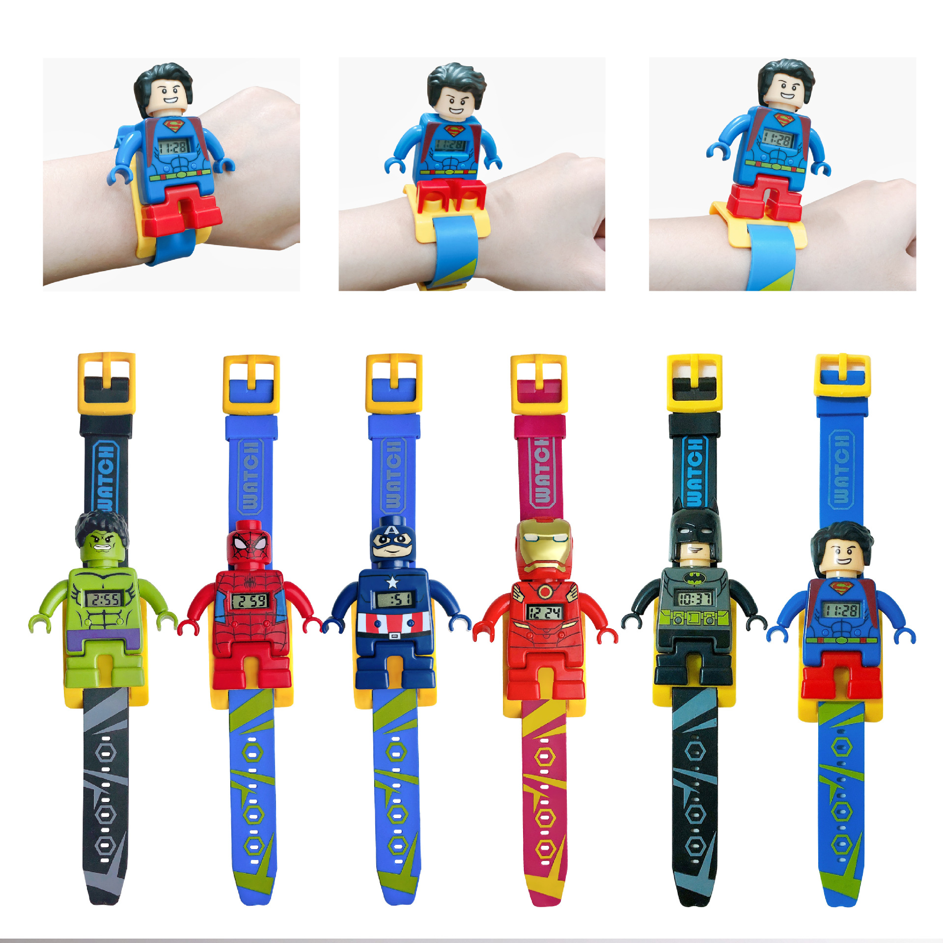 Wholesale Hot Selling Super Hero Children's Watch Doll Building Blocks Kids Watches Avengers Child Electronic Watches Baby Gifts