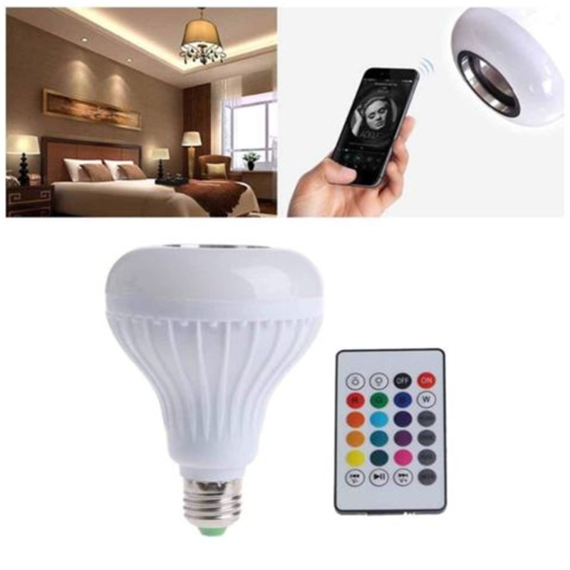 Bluetooth Light Bulb Speaker Smart LED Lamp Bulbs E27 Music Playing Dimmable Wireless Colorful RGB With 24 Keys Remote Control