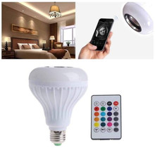цена на Bluetooth Light Bulb Speaker Smart LED Lamp Bulbs E27 Music Playing Dimmable Wireless Colorful RGB With 24 Keys Remote Control
