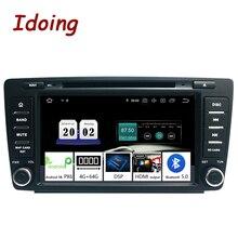 Idoing android 9.0 4g + 64g octa núcleo 2 din dvd para skoda octavia 2 a5 2008 2013 rádio do carro reprodutor de vídeo multimídia navegação gps