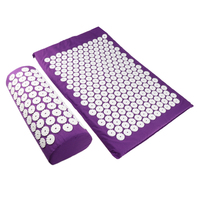Sponge Back Neck Massage Pad Acupressure Mat And Pillow Set Manual Massager With Carry Bag For Storage And Travel