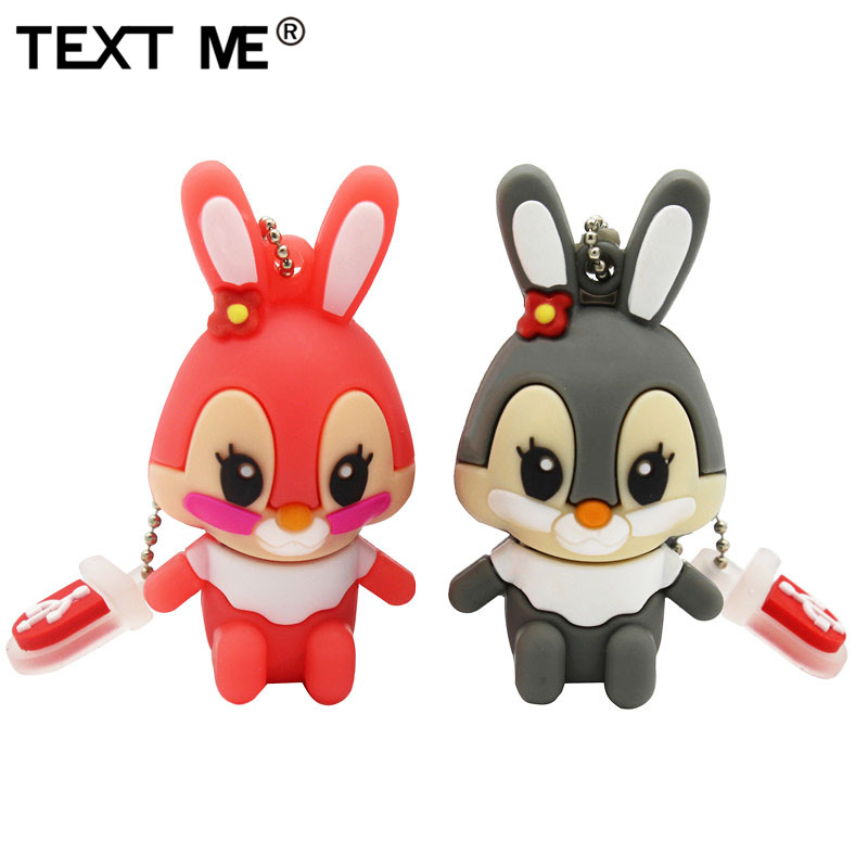 TEXT ME 64GB Usb Flash Drive Usb 2.0 4GB 8GB 16GB 32GB  Pendrive Cute Gray Pink Model Rabbit