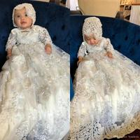 Long Sleeve Christening Gowns For Baby Girls Lace Appliqued Pearls Baptism Dresses With Bonnet First Communication Dress