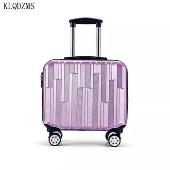 KLQDZMS 18 Cal PC eleganckie walizki z wózkami na kółkach Mini torby podróżne na kółkach ABS walizka na kółkach Hot sprzedam fioletowy styl tanie i dobre opinie CN (pochodzenie) As a description 42cm 23cm Spinner 42 5cm KLQDZMS-001 bagaż Unisex