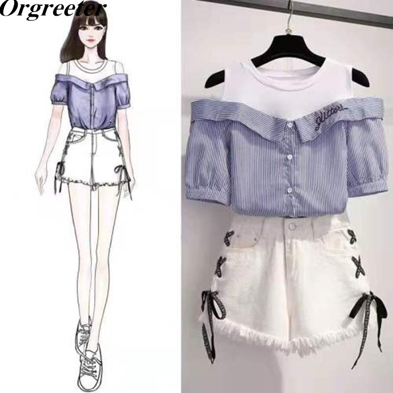 Fashion Stripes Mock Two-Piece Joint Vest Shirt And Wide Leg Side Cross Tie Up Tassel Shorts Sets Women Lettered Embroidered Set