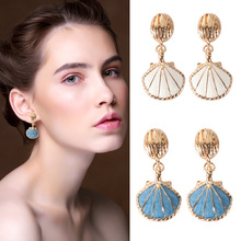 2019 Fashion Ocean Natural Sea Conch Shell Gold Drop Earrings for Women Bohemian Green Summer Cowrie Statement Beach Jewelry