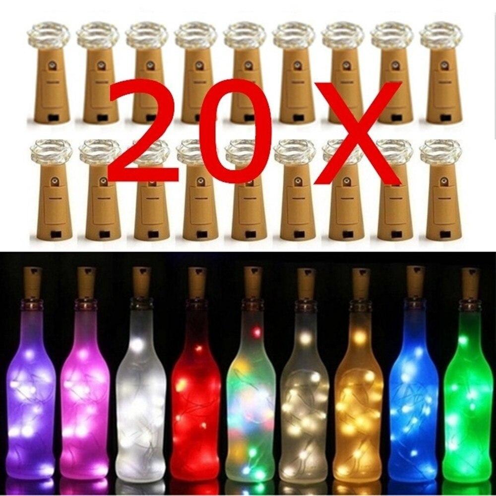 2M 20 Led Bottle Lights String Fairy Light Cork Lights Copper Wire String Lights Wedding Festival Party Xmas Decor Wine Bottle