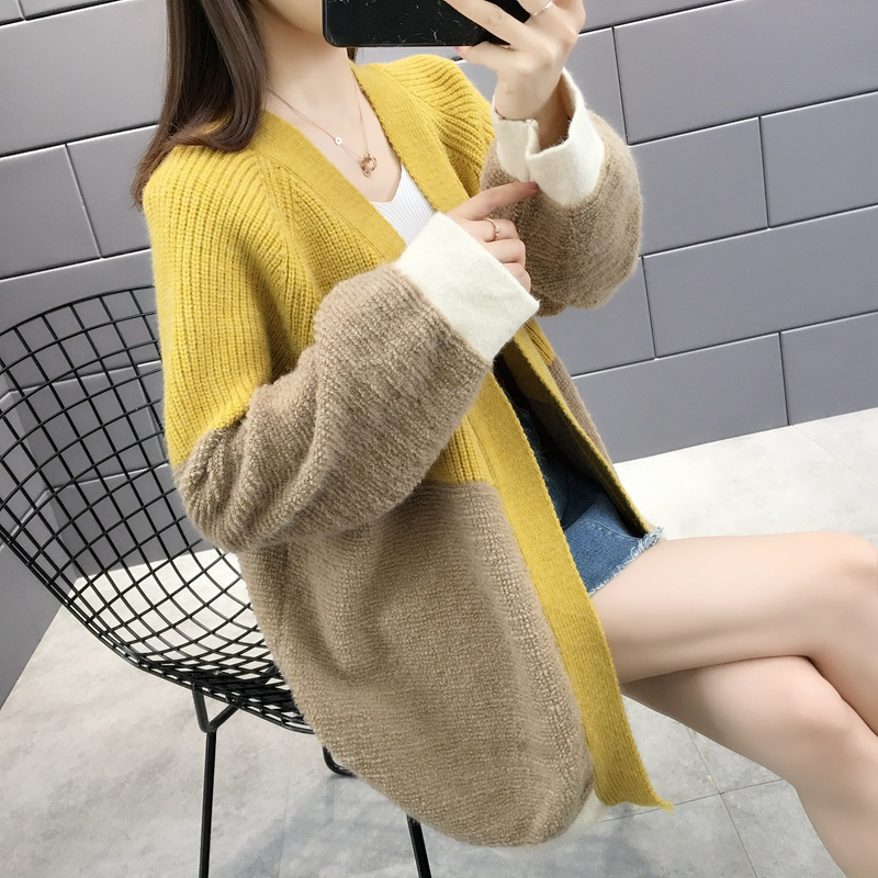 12305 in room 3 row 6 collaosed 56 female color matching new knitting cardigan sweater coat