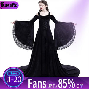 Maxi-Dress Gown Flare-Sleeve Lace Medieval Retro Black Vintage Goth Elegant Women Party