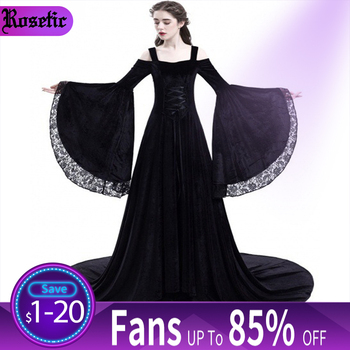 Women Party Maxi Dress Elegant Medieval Gown Green Vintage Goth Lace Flare Sleeve High Waist Plus Size Retro Black Long Dresses 1