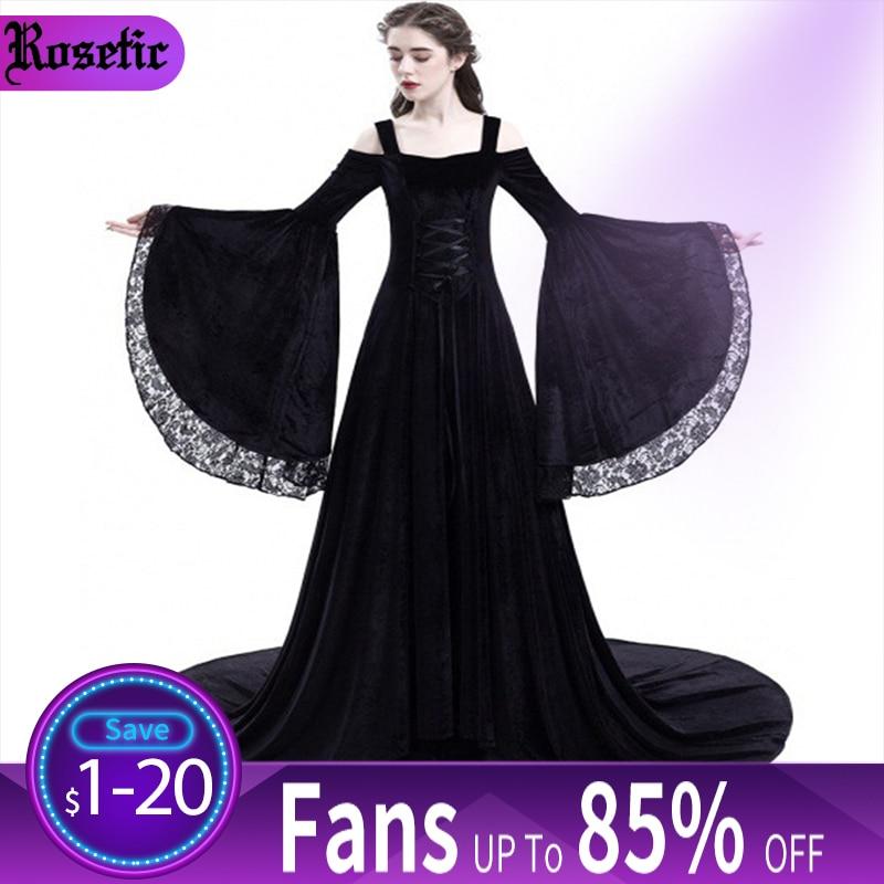 Women Party Maxi Dress Elegant Medieval Gown Green Vintage Goth Lace Flare Sleeve High Waist Plus Size Retro Black Long Dresses