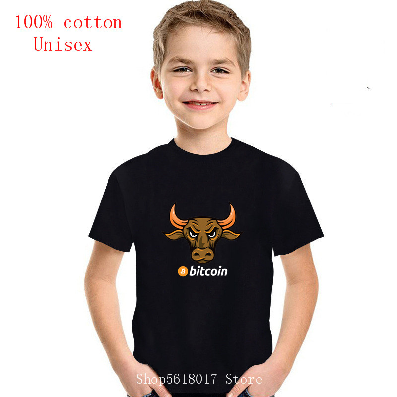 2021Hot Sale Summer Bitcoin Golden Bull white children T-shirt Short sleeve T shirt kids o-neck Kids tshirt 1