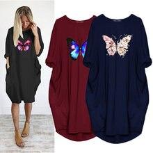 Платье с бабочкой для женщин kawaii сердце Форма принт осенняя